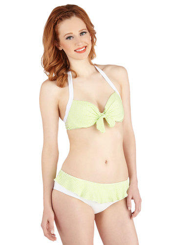 Brighter Than Sunshine Two-Piece Swimsuit - Knit, Green, White, Print, Ruffles, Beach/Resort, Summer, Exclusives