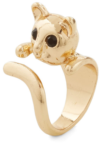 Curlin' on Up Ring - Black, Print with Animals, Casual, Cats, Gold, Good, Social Placements, Quirky