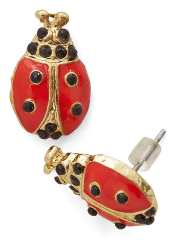Ladybirds of a Feather Earrings - Red, Black, Print with Animals, Casual, Quirky, Gold, Good, Critters