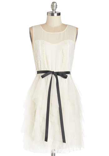 Your Own Muse Dress - Cream, Lace, Ruffles, Belted, Special Occasion, Prom, A-line, Sleeveless, Summer, Woven, Better, Scoop, Mid-length