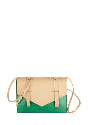 Glamour Around the Globe Bag by Lauren Moffatt - Tan / Cream, Solid, Buckles, Luxe, Colorblocking, Best, Leather, Green