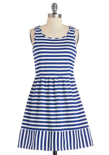 Beach Boogie Dress - Short, Knit, Blue, White, Stripes, Casual, Nautical, A-line, Tank top (2 thick straps), Better, Scoop, Americana, Sundress