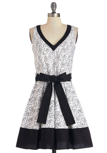 Ant We Got Fun Dress - Black, Print with Animals, Trim, Belted, Casual, Critters, A-line, Sleeveless, Better, V Neck, Cotton, Woven, White, Full-Size Run, Mid-length