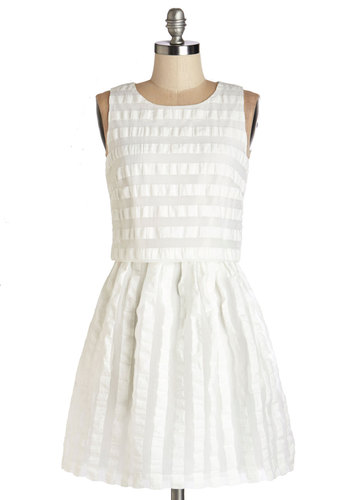 Piano Playful Dress by Mink Pink - White, Stripes, A-line, Sleeveless, Summer, Woven, Better, Scoop, Mid-length, Sheer, Daytime Party, Graduation