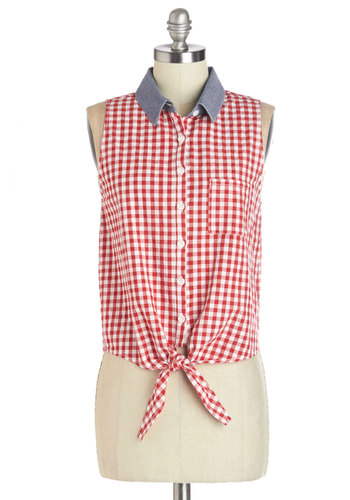 Style is Served Top - Red, Sleeveless, Red, White, Checkered / Gingham, Buttons, Casual, Rockabilly, Pinup, Vintage Inspired, 50s, Americana, Sleeveless, Spring, Summer, Collared, Good, Short, Blue, Pockets