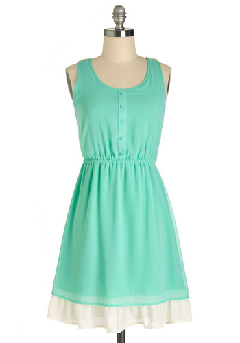 Springtime Will Tell Dress - Mint, Tan / Cream, Buttons, Crochet, Casual, A-line, Sleeveless, Summer, Woven, Good, Scoop, Mid-length, Chiffon, Sheer, Lace
