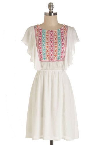 Wonderfully With It Dress - White, Pink, Embroidery, Ruffles, Casual, Boho, Festival, A-line, Short Sleeves, Summer, Woven, Good, Scoop, Mid-length, Social Placements