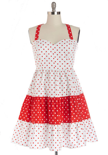 Picnic Games Dress in Plus Size - White, Red, Polka Dots, Casual, Sundress, A-line, Sleeveless, Summer, Woven, Good, Sweetheart