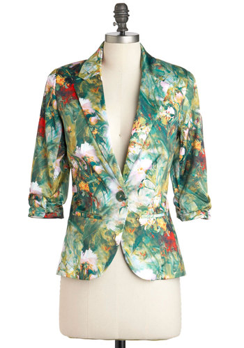 Must Be Lucid Dreaming Blazer - Multi, Green, Multi, Floral, Pockets, Work, Casual, Long Sleeve, Mid-length, Best Seller, 1, Spring