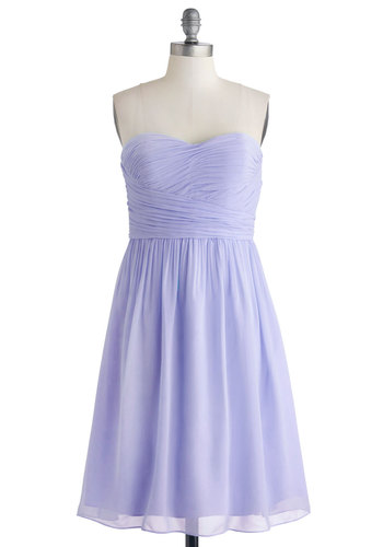Under a Blue Sky Dress in Iris - Lavender, Solid, Special Occasion, Wedding, Bridesmaid, Pastel, A-line, Strapless, Summer, Woven, Best, Sweetheart, Long, Prom, Variation, Show On Featured Sale