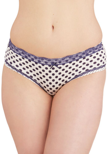 Fun Foundation Undies - Blue, Polka Dots, Nautical, Good, Knit, Vintage Inspired, Cream, Lace, Trim