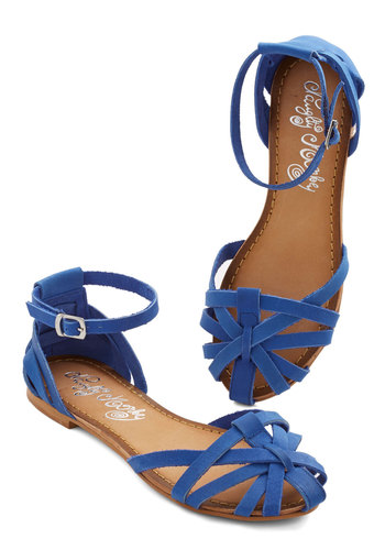 Sums it Up Sandal in Cobalt - Leather, Flat, Blue, Solid, Casual, Variation, Social Placements