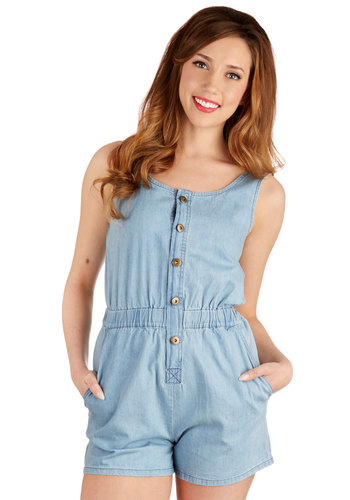 Partners in Rhyme Romper - Jumper, Good, Blue, Light Wash, Denim, Romper, Long, Cotton, Denim, Woven, Blue, Solid, Buttons, Pockets, Casual, Vintage Inspired, 90s, Tank top (2 thick straps), Summer, Scoop, Festival, Americana, Spring, Boho