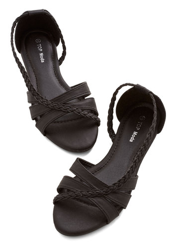 Feeling Carefree Sandal in Black - Flat, Faux Leather, Black, Solid, Braided, Casual, Good, Strappy, Variation, Summer