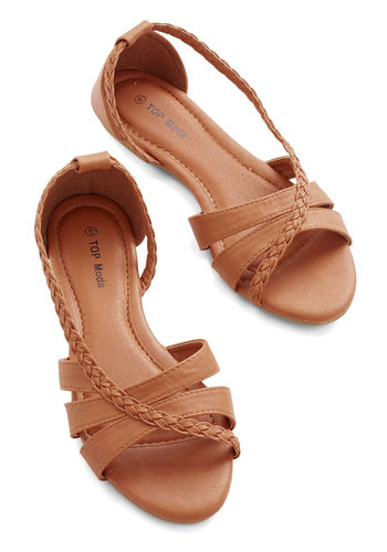 Feeling Carefree Sandal in Tan - Flat, Faux Leather, Tan, Solid, Braided, Boho, Summer, Good, Variation