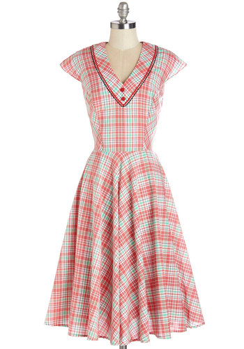 Swing Showcase Dress - Cotton, Woven, Red, Multi, Plaid, Buttons, Casual, A-line, Cap Sleeves, Better, V Neck, Green, White, Trim, Summer, Top Rated, Long