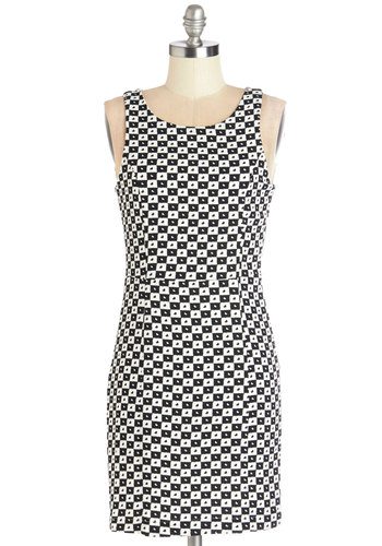 You've Got Heart Dress - Black, White, Novelty Print, Party, Shift, Sleeveless, Woven, Good, Scoop, Short, Checkered / Gingham, Buttons, Cutout, Girls Night Out