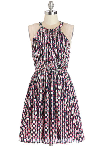 Generation Geo Dress - Print, Backless, Exposed zipper, Casual, A-line, Sleeveless, Summer, Woven, Better, Halter, Mid-length, Multi