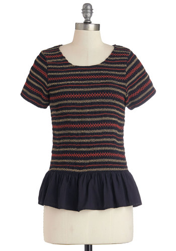 I Smock the Line Top - Better, Blue, Short Sleeve, Mid-length, Knit, Blue, Orange, Stripes, Work, Peplum, Tan / Cream, Casual, Short Sleeves, Scoop
