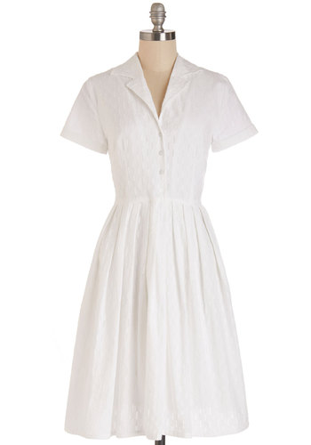 Mod of Approval Dress in Cloud by Myrtlewood - Cotton, Woven, White, Solid, Eyelet, Casual, Shirt Dress, Short Sleeves, Better, Collared, Exclusives, Show On Featured Sale, Long