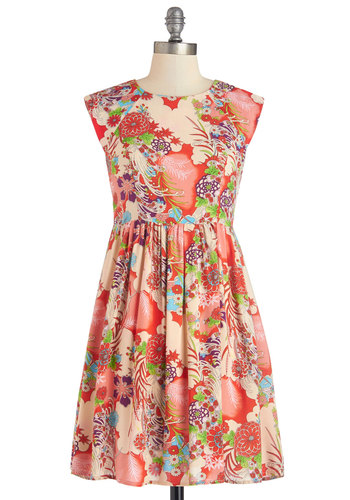 First Thing's Colorburst Dress - Multi, Floral, Casual, A-line, Cap Sleeves, Summer, Woven, Good, Mid-length, WPI
