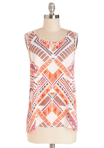 Carnival of Bright Top - Multi, Sleeveless, Mid-length, Sheer, Woven, Orange, Pink, White, Print, Sleeveless, Spring, Summer, Casual, Scoop