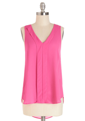 Natural Navigator Top - Pink, Sleeveless, Long, Pink, Solid, High-Low Hem, Sleeveless, Spring, Summer, Casual, V Neck, Good