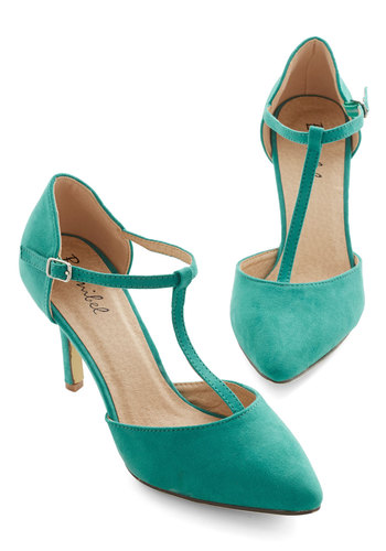Get It, Got It, Go-See Heel in Green - Mid, Green, Solid, Special Occasion, Prom, T-Strap, Faux Leather, Good, Gifts Sale, Bridesmaid, Wedding