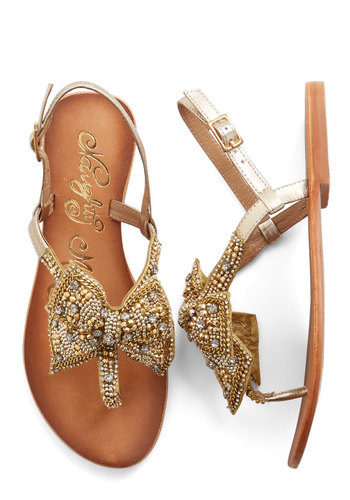 Twinkling Trimmings Sandal in Gold - Flat, Leather, Gold, Solid, Bows, Rhinestones, Luxe, Summer, Better, Slingback, Beads, Daytime Party, Variation, Statement, Press Placement