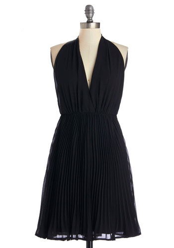 Unforgettable Debut Dress - Black, Solid, Pleats, Party, LBD, A-line, Sleeveless, Woven, Good, V Neck, Cocktail, Halter, Mid-length