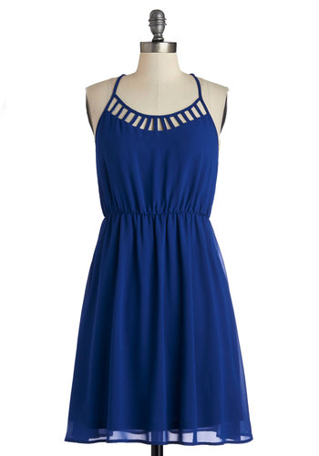 On Your Lunch Break Dress - Blue, Solid, Cutout, Casual, A-line, Summer, Woven, Good, Scoop, Spaghetti Straps, Mid-length