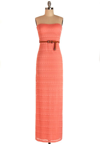 Resort Ready Dress - Coral, Solid, Belted, Casual, Beach/Resort, Strapless, Summer, Knit, Good, Long, Maxi