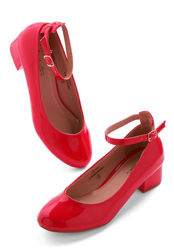 Literary Luck Heel in Red - Red, Solid, Work, Low, Faux Leather, Good, Chunky heel, Variation, Daytime Party, Minimal, Valentine's