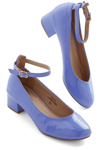 Literary Luck Heel in Periwinkle - Purple, Solid, Party, Daytime Party, Good, Chunky heel, Minimal, Variation, Low, Faux Leather
