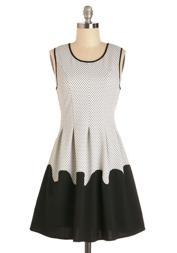 Down to the Last Dot Dress - Black, White, Polka Dots, Pleats, Trim, Casual, A-line, Sleeveless, Good, Scoop, Mid-length, Knit
