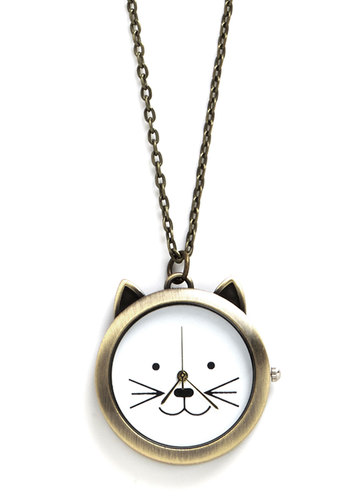 Cat Your Eye on the Time Necklace - White, Black, Print with Animals, Casual, Cats, Gold, Pocketwatch, Better, Critters, Gals, Social Placements, Quirky