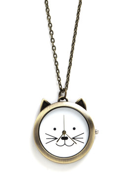 Cat Your Eye on the Time Necklace
