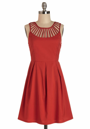 Rays of Delight Dress - Red, Solid, Cutout, Pleats, Americana, Sleeveless, Summer, Woven, Good, Chiffon, Sheer, Casual, Girls Night Out, Party, Mid-length