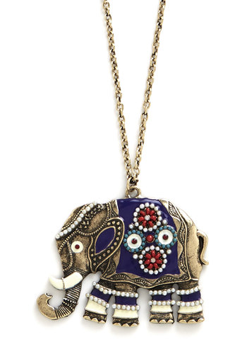 Elephant-abulous Necklace - Print with Animals, Beads, Boho, Gold, Blue, Multi, Safari, Critters, Darling, Fall, 70s