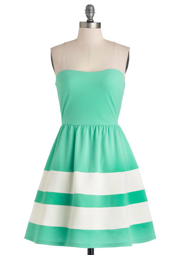 Rest and Recreation Dress - Mint, White, Stripes, Casual, Beach/Resort, Sundress, A-line, Strapless, Summer, Knit, Good, Mid-length