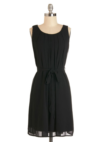 Highly Awaited Dress - Black, Solid, Pleats, Belted, Party, LBD, Tent / Trapeze, Sleeveless, Woven, Good, Scoop, Mid-length