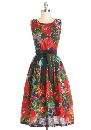 Community Dinner Hostess Dress - Multi, Floral, Daytime Party, A-line, Sleeveless, Woven, Better, Scoop, Cotton, Belted, Long