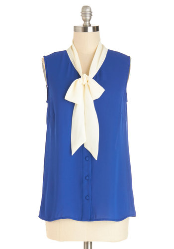 Madison Aptitude Top in Blue by Myrtlewood - Mid-length, Chiffon, Sheer, Woven, Blue, White, Solid, Work, Darling, Sleeveless, Spring, Variation, Blue, Sleeveless, Exclusives, Private Label, Tie Neck, Buttons, Daytime Party