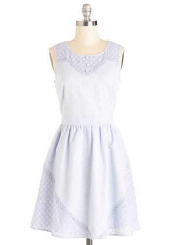 Eyelets Do the Twist Dress - Blue, Solid, Buttons, Eyelet, Casual, A-line, Sleeveless, Summer, Woven, Better, Scoop, Mid-length