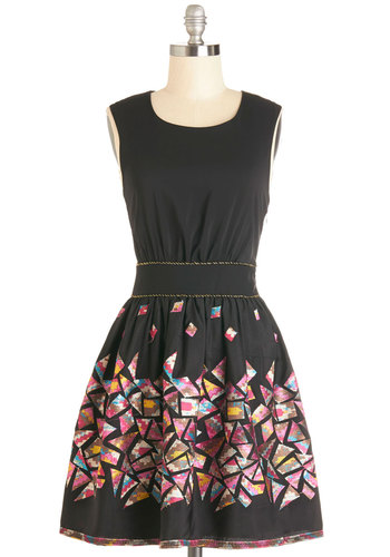 The Glass Mosaically Dress by Yumi - Black, Pink, Print, Trim, Casual, A-line, Sleeveless, Better, Scoop, Mid-length, Woven