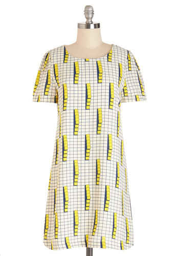 Not to Dimension Dress - Yellow, Blue, Print, Casual, Statement, Shift, Better, Scoop, Mid-length, Woven, White
