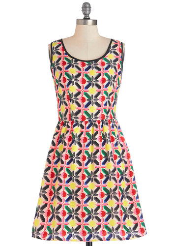Kaleidoscope Diamond Dress - Green, Blue, Black, Print, Casual, A-line, Sleeveless, Good, Scoop, Mid-length, Satin, Woven, Multi, Yellow, Pink