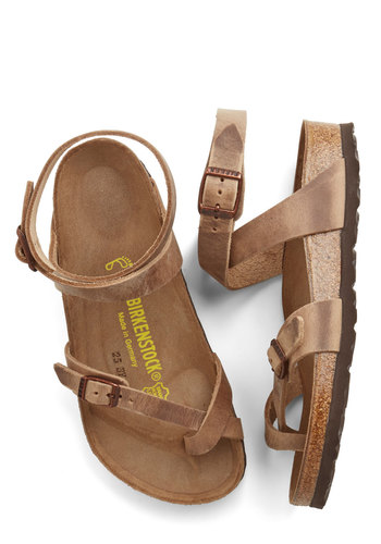 Italian Summer Sandal in Brown by Birkenstock - Flat, Leather, Tan, Solid, Boho, Festival, Summer, Variation