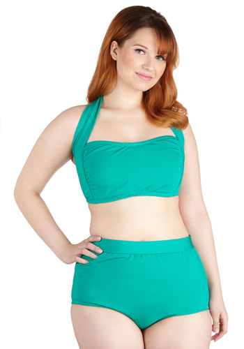 Seaside Serenity Classic Swimsuit Top in Jade - Plus Size by Monif C - Green, Beach/Resort, Spring, Summer, Knit, Solid, Minimal, Variation