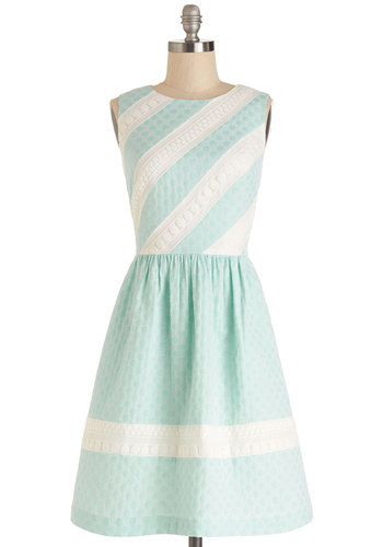 Pastel Me Something Good Dress - Mint, White, Polka Dots, Daytime Party, A-line, Sleeveless, Better, Scoop, Mid-length, Woven, Pastel, Social Placements, Full-Size Run